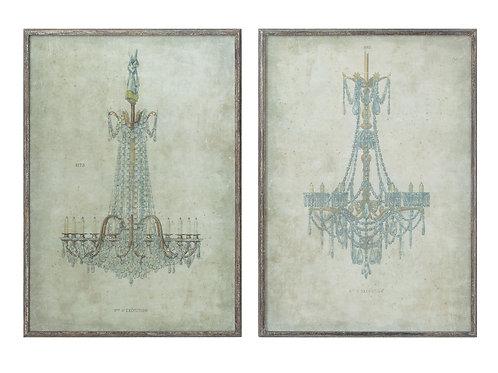 Chandelier Wood Framed Wall Decor (Set of 2 Designs)