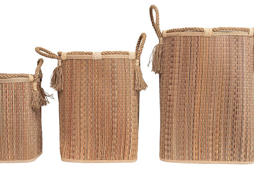 Handwoven Seagrass Baskets with Handles & Tassels (Set of 3 Sizes)
