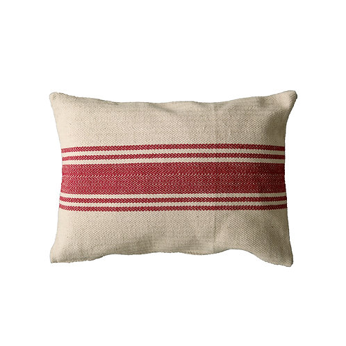 Cream Cotton Canvas Pillow with Red Stripes
