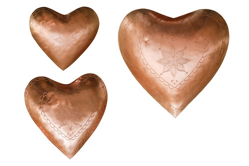 Decorative Embossed Metal Heart Dishes (Set of 3 Sizes)