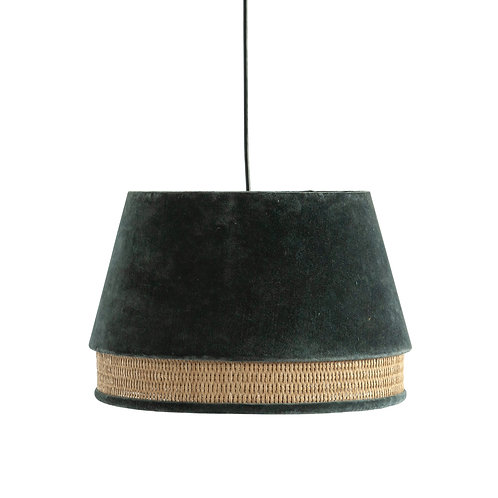 Charcoal Cotton Velvet & Cane Pendant Light