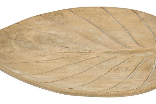 Hand-Carved Mango Wood Leaf Shaped Tray