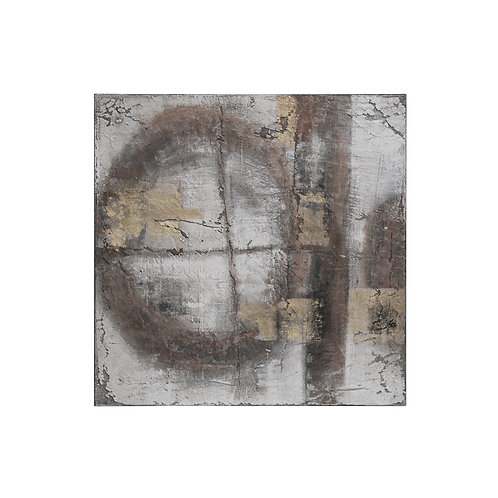 "31.5"" Square Hand-Painted Abstract Canvas Wall Decor"