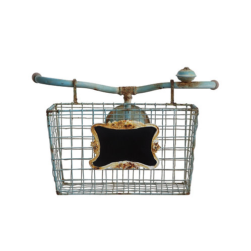 Bike Handlebars with Basket Wall Decor
