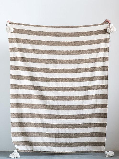White & Brown Metallic Striped Cotton Woven Throw with White Tassels