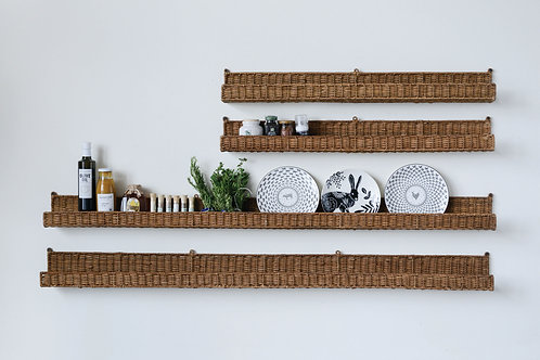 Handwoven Rattan Wall Shelf
