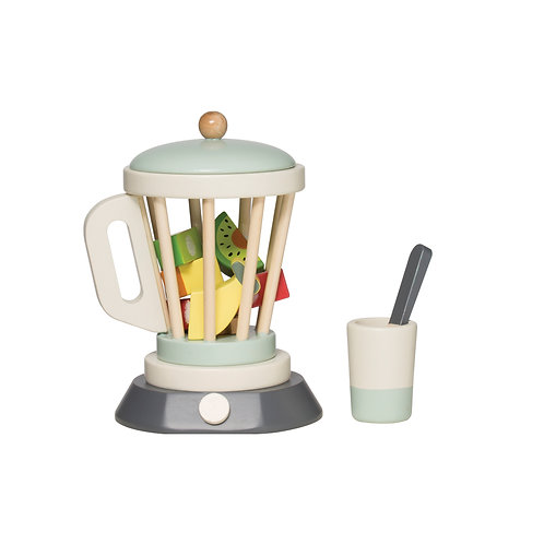Wood Toy Blender, Cup & Utensil with 3 Fruit Toys (Set of 6 Pieces)