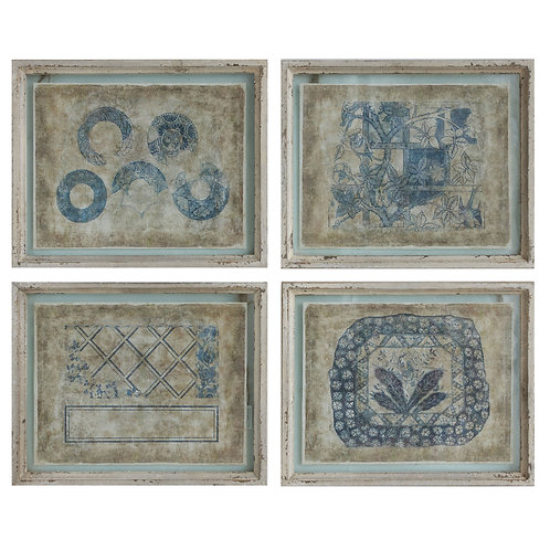Wood Framed Wall Decor with Distressed Blue Designs (Set of 4 Designs)