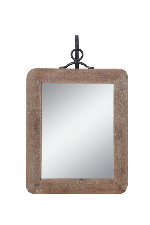 Small Wood Framed Rectangle Wall Mirror (Set of 2 Pieces)
