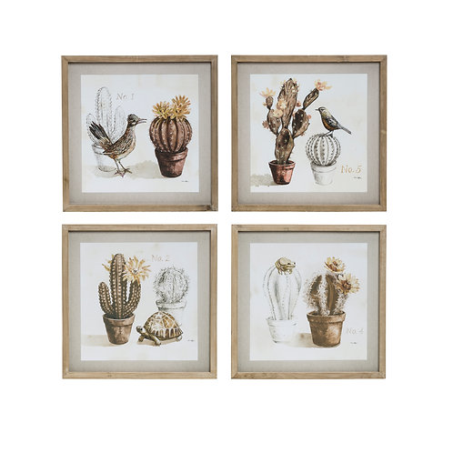 Cactus & Animal Wall Art in Square Wood Frames (Set of 4 Styles)