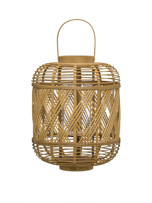 Handwoven Bamboo Lantern with Glass Insert & Handle
