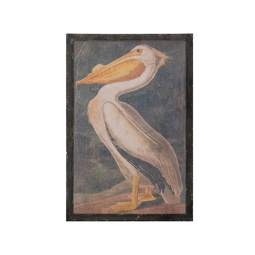 Vintage Pelican Wall Art with Distressed Black Wood Frame