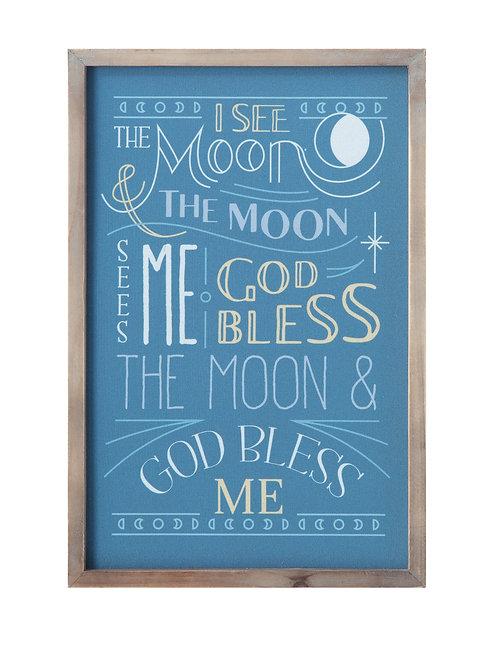 """I See the Moon"" Canvas & Wood Wall Decor"