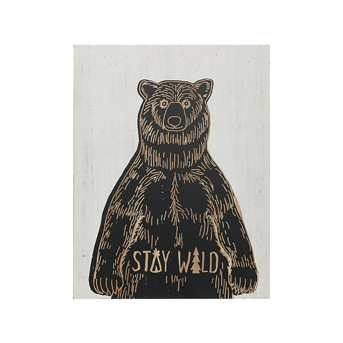 """Stay Wild"" Bear Wood Scratch Art Wall Decor"