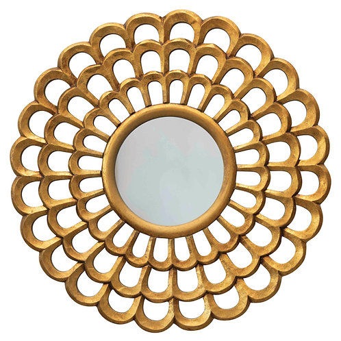 "23.5"" Round Hand-Carved Scalloped Wood Wall Mirror"