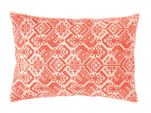 Red Cotton Embroidered Pillow