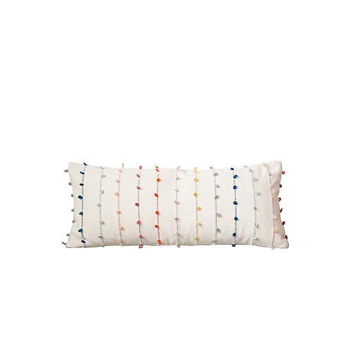 White Cotton Pillow with Multicolor Embroidered Loop Stripes