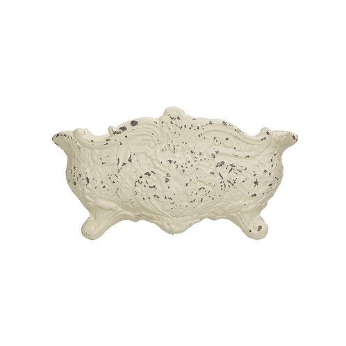 Vintage Reproduction Distressed White Cast Iron Cachepot