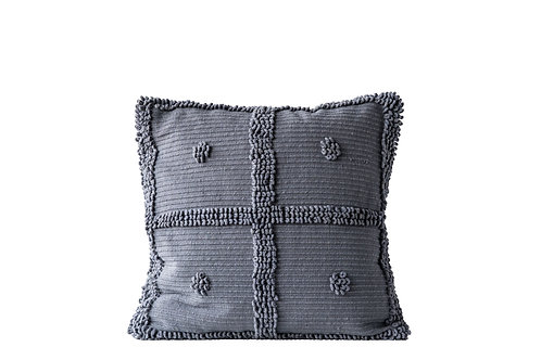 Grey Square Cotton Chenille Looped Pillow