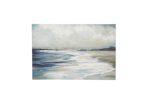 "23.5""W Hand-Painted Beach Scene Canvas Wall Decor"