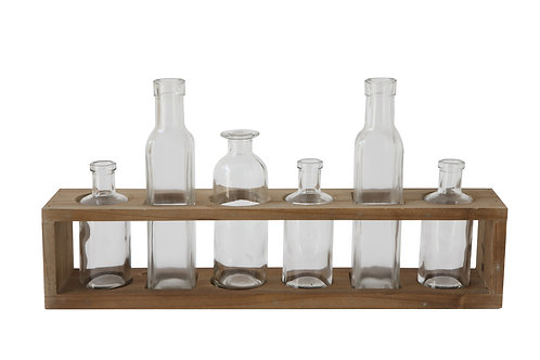 Glass Bottles in Wood Holder (Set of 7 Pieces)