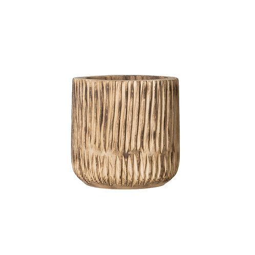 Short Paulownia Wood Planter with Carved Fluted Design