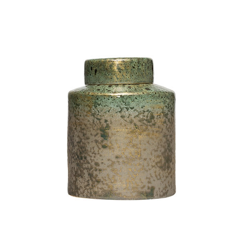 """9.75""""H Decorative Stoneware Ginger Jar (Each one will vary)"""