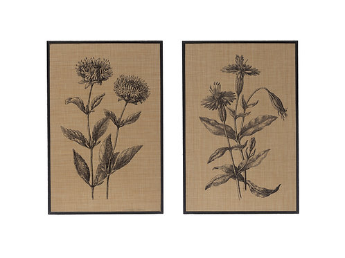"23.5""H Woven Raffia Floral Wall Decor with Wood Frame (Set of 2 Styles)"