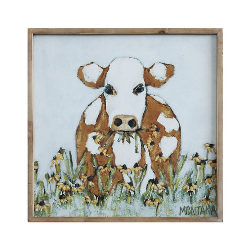 Cow & Daisy Flowers Wood Framed Wall Art