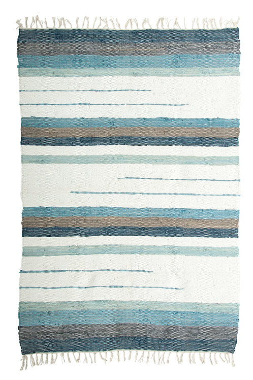 4' x 6' Blue & Brown Striped Cotton Blend Woven Chindi Rug with Fringe