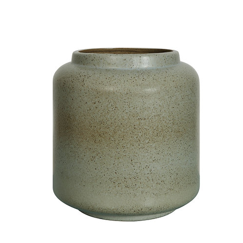 Blue Stoneware Crock with Reactive Glaze Finish (Each one will vary)