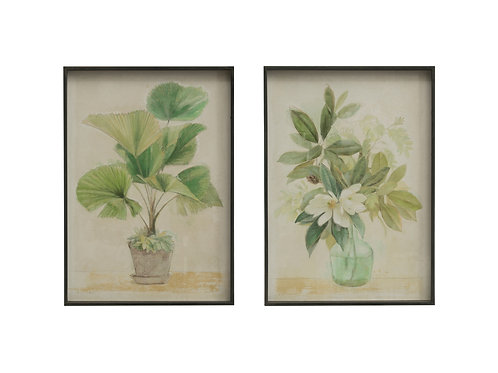 Potted Palm & Flowers in Vase Wall Decor (Set of 2 Styles)