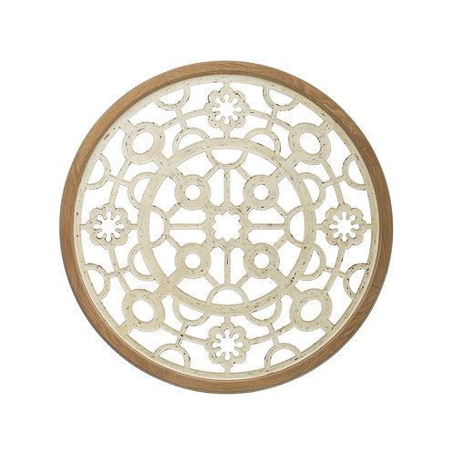 Round Cut Metal Wall Medallion with Wood Frame