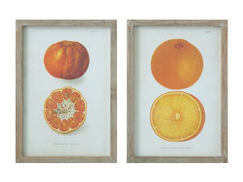 Orange & Tangerine Wood Framed Wall Decor (Set of 2 Designs)