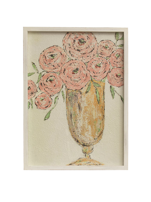 "23.25""H Textured Flowers in Vase Wall Decor with Rectangle Wood Frame"