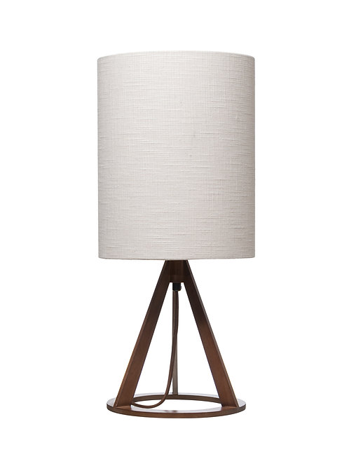 Geometric Wood Table Lamp with Linen Shade