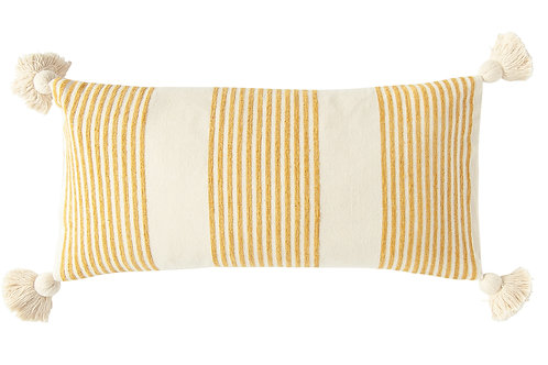 Cream Cotton & Chenille Pillow with Mustard Stripes