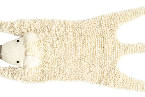 "47"" Handmade Sheep Shaped Rug with Brushed Cream Felt"