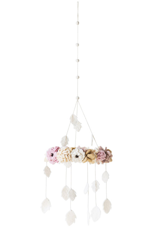 Wool Felt Floral Wreath Mobile with Hanging Leaves