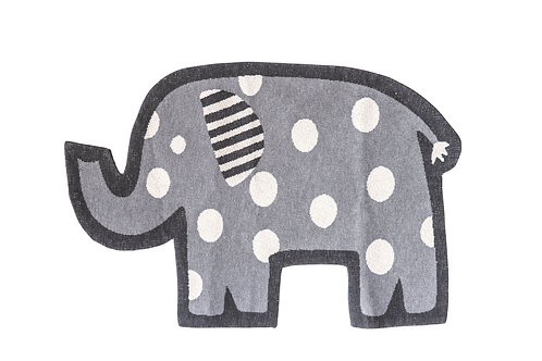 Grey Elephant Shaped Cotton Knit Rug with White Polka Dots