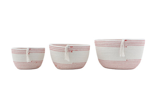 White & Red Cotton Rope Baskets with Tassels (Set of 3 Sizes)