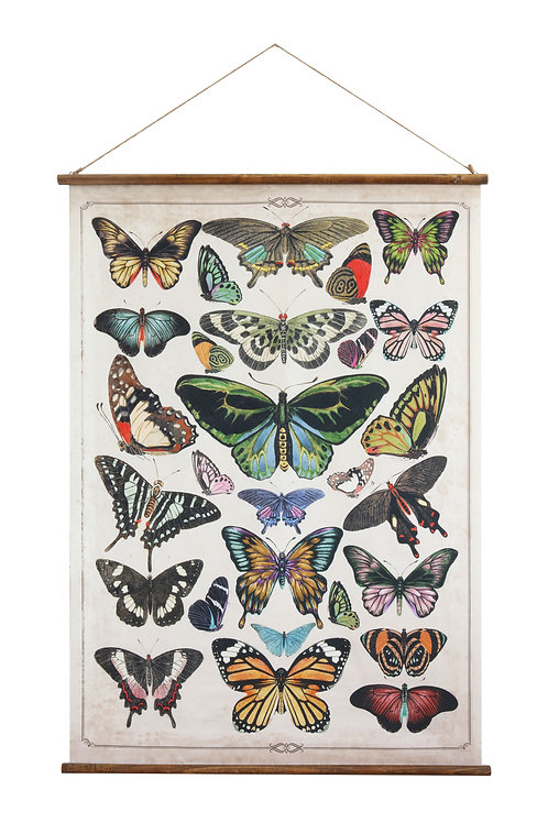 Butterflies Burlap & Wood Scroll Wall Decor