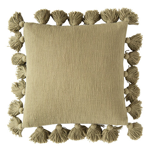 Square Olive Green Cotton Pillow with Tassel