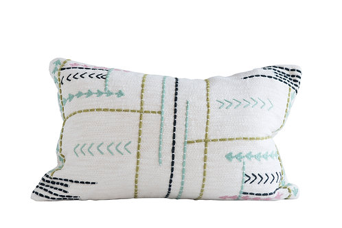 Cream Rectangle Pillow with Multicolor Arrow Embroidery