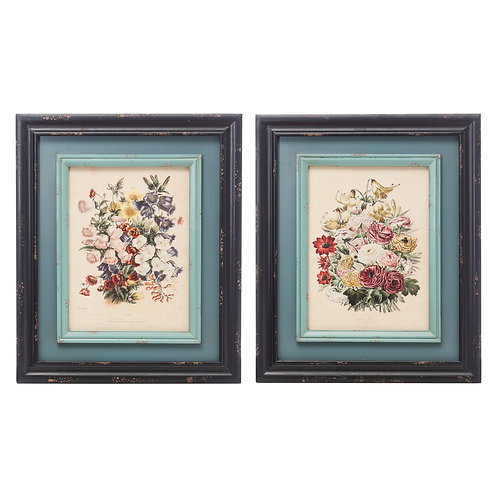 Vintage Reproduction Floral Wall Decor (Set of 2 Styles)