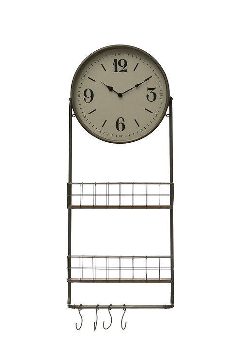 Round Metal & Wood Wall Clock with 2 Storage Baskets, Rod & 4 Hooks