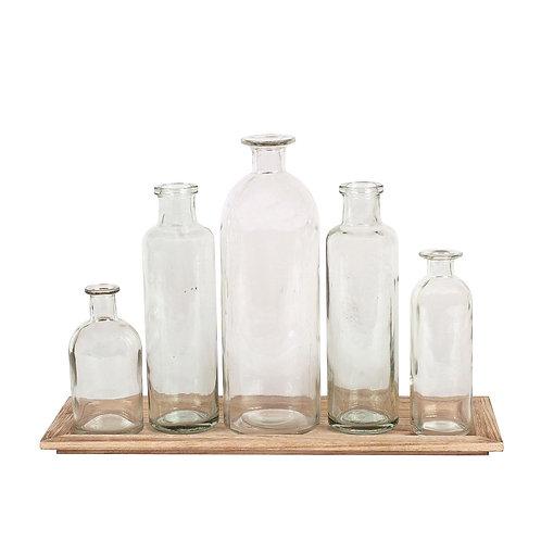 Set of 5 Vintage Bottle Vases on Wood Tray