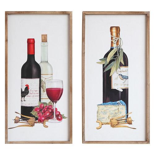 Wine Image Wood Framed Wall Decor (Set of 2 Designs)