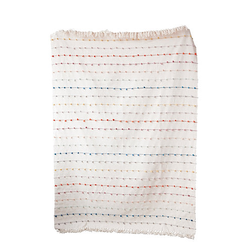 White Throw with Multicolor Embroidered Loop Stripes