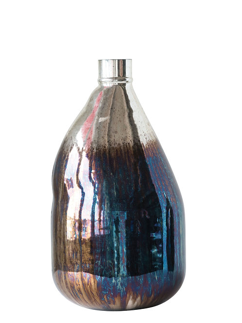 Large Glass Balloon Vase with Iridescent Finish